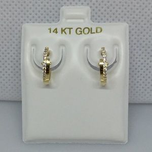 14k solid gold cz huggie hoop earrings